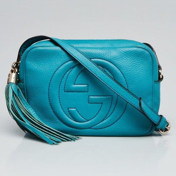 *SALE! Gucci Light Blue Pebbled Leather Soho Disco